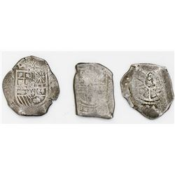 Lot of three Mexico City, Mexico, cob 8 reales, Philip IV, Charles II and Philip V, assayers not vis