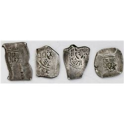 Lot of four Mexico City, Mexico, cob 8 reales, Philip V, assayer D or not visible.