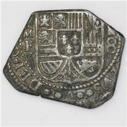 Mexico City, Mexico, klippe 8 reales, (1733-4)MF, cut down to possible African standard.