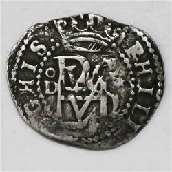 Lima, Peru, cob 1/2 real, Philip II, assayer Diego de la Torre, oD to left, * to right of monogram,