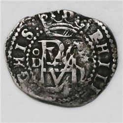 Lima, Peru, cob 1/2 real, Philip II, assayer Diego de la Torre, oD to left, * to right of monogram,