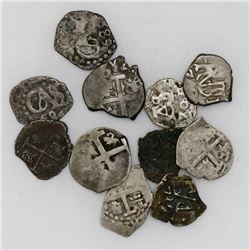 Lot of eleven Lima, Peru, cob 1/2 reales, Charles II through Ferdinand VI, all with visible dates.