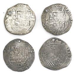 Lot of four Potosi, Bolivia, cob 8 reales, Philip II, assayer B (various periods).