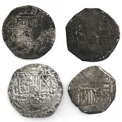 Lot of four Potosi, Bolivia, cob 8 reales, Philip III, assayers R (curved leg) and T.