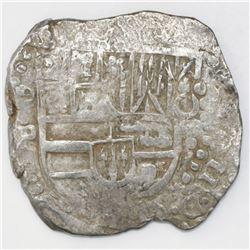 "Potosi, Bolivia, cob 8 reales, Philip IV, assayer P (1624-26), quadrants of cross transposed, ex-""Pa"