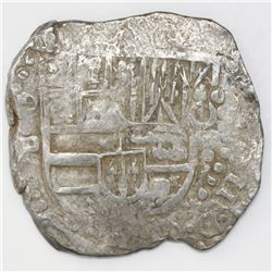 Potosi, Bolivia, cob 8 reales, Philip IV, assayer P (1624-26), quadrants of cross transposed, ex- Pa