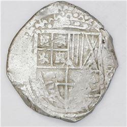 Potosi, Bolivia, cob 8 reales, 1629(T), denomination 8, fine-dot borders.