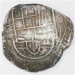 Potosi, Bolivia, cob 8 reales, 1630T, denomination x-8-x.