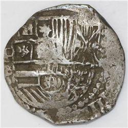 Potosi, Bolivia, cob 4 reales, Philip III, assayer B (5th period), rare.