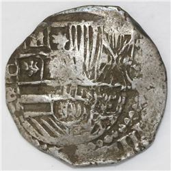 Potosi, Bolivia, cob 4 reales, Philip III, assayer B (5th period), rare.