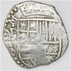 Potosi, Bolivia, cob 4 reales, Philip III, assayer M (pre-dated type), quadrants of cross transposed