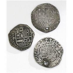 Lot of three Potosi, Bolivia, cob 2 reales, Philip II and III, assayers A/B, B (5th period, borders