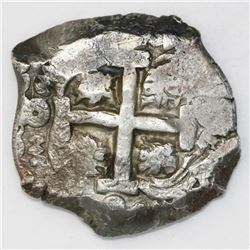 Potosi, Bolivia, cob 8 reales, 1752q, mintmark and assayer transposed in pillars (rare).