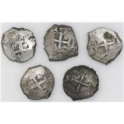 Lot of five Potosi, Bolivia, cob 8 reales: 1740M, 1755q, 1762V-(Y), 1766V-Y, 1767V-(Y) and 1771V-(Y)