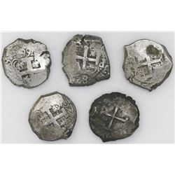 Lot of five Potosi, Bolivia, cob 8 reales: 1740M, 1755q, 1762V-(Y), 1766V-Y, 1767V-(Y) and 1771V-(Y)