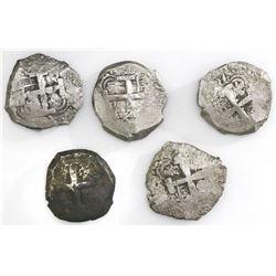 Lot of five Potosi, Bolivia, cob 8 reales: 1762V-(Y), 1763V-(Y), 1767V-(Y), 1771V-(Y) and 1772(V)-Y.