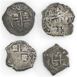 Lot of four Potosi, Bolivia, cob 4 reales, Charles II and Philip V, dates as follows: 1684VR, 1685VR