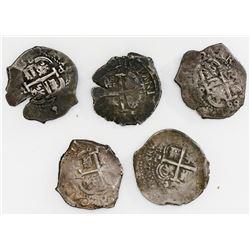 Lot of five Potosi, Bolivia, cob 2 reales, Philip IV and Charles II, dates as follows: 1662E, 1675E,