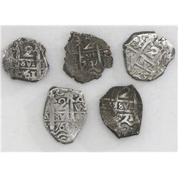 Lot of five Potosi, Bolivia, cob 2 reales: 1747q, 1761V-(Y), 1765V-(Y), 1766V-Y, and 1771V-(Y).