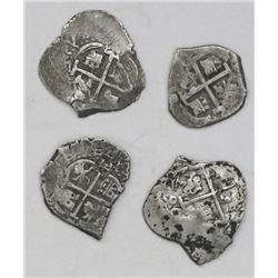 Lot of four Potosi, Bolivia, cob 1R of Charles II: 1672E, 1681V, 1690VR and 1694VR.