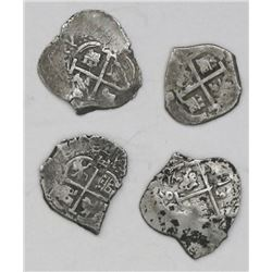 Lot of four Potosi, Bolivia, cob 1R of Charles II: 1672E, 1681V, 1690VR and 1694VR.