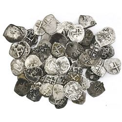 Lot of 65 Potosi, Bolivia, cob 1/2R, various periods (one shield-type), some with dates.