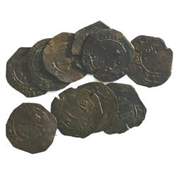 Lot of ten Santo Domingo, Dominican Republic, copper 4 maravedis, Charles-Joanna, assayer F.