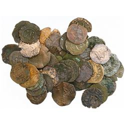 Lot of 50 Santo Domingo, Dominican Republic, copper 4 maravedis, Charles-Joanna, assayer F or oF.