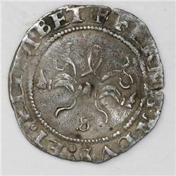 Seville, Spain, 1/2 real, Ferdinand-Isabel, no assayer, mintmark S below yoke.