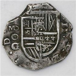 Madrid, Spain, cob 2 reales, Philip III, assayer oG below MD mintmark to left (ca. 1620).