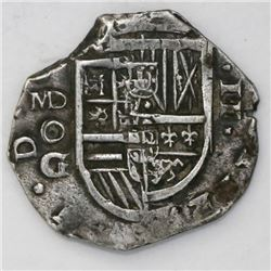 Madrid, Spain, cob 2 reales, Philip III, assayer oG below MD mintmark to left (ca. 1620).