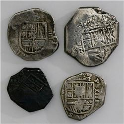 Lot of four Spanish cob 8R (one) and 4R (three), Philip III and IV, various assayers (where visible)