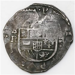 Seville, Spain, cob 8 reales, Philip IV, assayer R, rotated reverse legend.