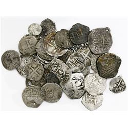 Large lot of 37 Spanish and Spanish colonial cobs of all denominations (8R to 1/4R), various mints a