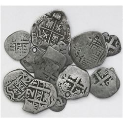 Lot of fourteen silver cob minors (1/2, 1 and 2 reales), Spanish and Spanish colonial, various perio