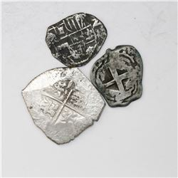 Lot of three Spanish / Spanish colonial cob minors: Seville 2R Philip III assayer B; Potosi 1R Phili