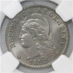 Argentina, 20 centavos, 1897, NGC MS 65.