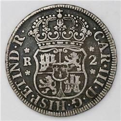 Potosi, Bolivia, pillar 2 reales, Charles III, 1768JR, no dot over mintmark.