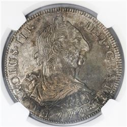 Potosi, Bolivia, bust 8 reales, Charles III, 1774JR, NGC MS 61.