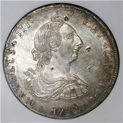 Potosi, Bolivia, bust 8 reales, Charles III, 1788PR, in-collar double strike, with chopmarks as from
