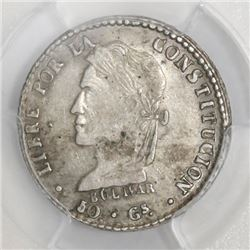 Potosi, Bolivia, 1 sol, 1860FJ, PCGS AU53. Rare dot betw. denomination