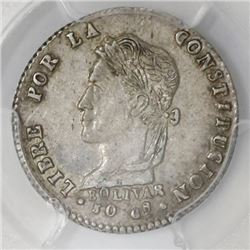 Potosi, Bolivia, 1 sol, 1863/2FP, PCGS AU58, finest known in PCGS census.