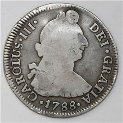 Santiago, Chile, bust 2 reales, Charles III, 1788DA.