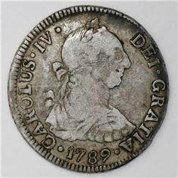 Santiago, Chile, bust 2 reales, Charles IV (bust of Charles III), 1789DA.