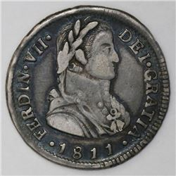 """Santiago, Chile, bust 2 reales, Ferdinand VII transitional (""""admiral"""" bust), 1811FJ."""