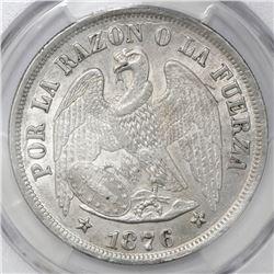 Santiago, Chile, 1 peso, 1876, PCGS AU detail / scratch.