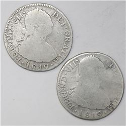 Lot of two Bogota, Colombia, bust 2 reales, Ferdinand VII (bust of Charles IV), 1819FJ (normal date)