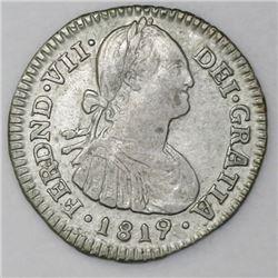Bogota, Colombia, bust 1 real, Ferdinand VII (bust of Charles IV), 1819FJ, inverted J.