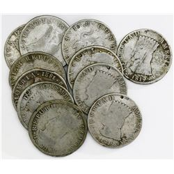 Lot of eleven Bogota (Cundinamarca), Colombia, 8 reales, 1819-1821JF.