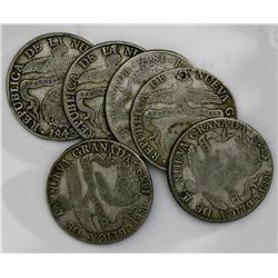 Lot of six Bogota, Colombia, 8 reales: 1839RS, 1840RS (2), 1843RS (2), 1845RS.